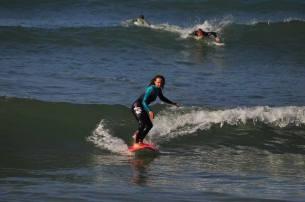 Lucie enjoying the surf