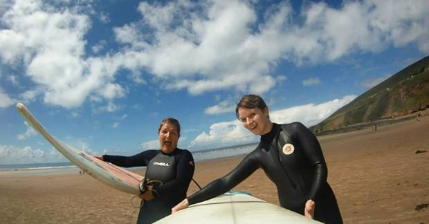 Me and Landlocked Surf Girl - our first surf together