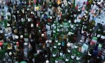 Hundreds of wine and beer bottles